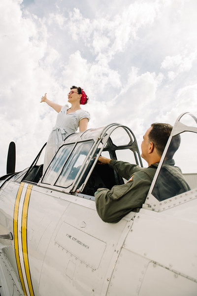 Sara and Jonathan's Vintage Inspired Engagement Session at the Cavanaugh Flight Museum in Addison, Texas