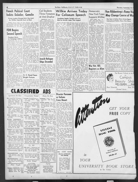 Daily Trojan, Vol. 32, No. 5, September 19, 1940