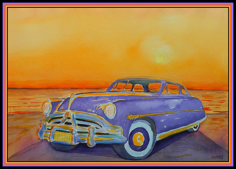 1952 Hudson Hornet Sunset, 10x14, watercolor, april 16, 2018