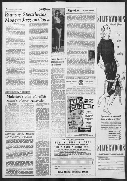 Daily Trojan, Vol. 46, No. 78, February 16, 1955