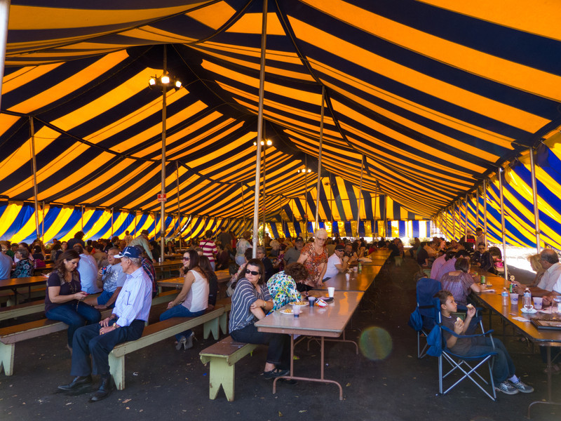 """The lunch tent at the annual Portuguese """"Our Lady of Fatima"""" Celebration parade in Thorton, CA."""