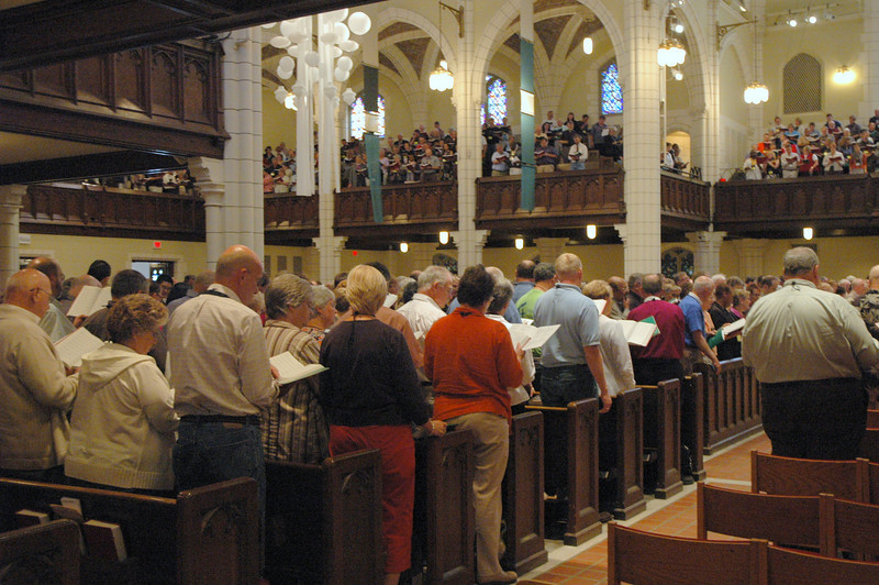 Worship at Central Lutheran Church, Minneapolis, on Saturday.