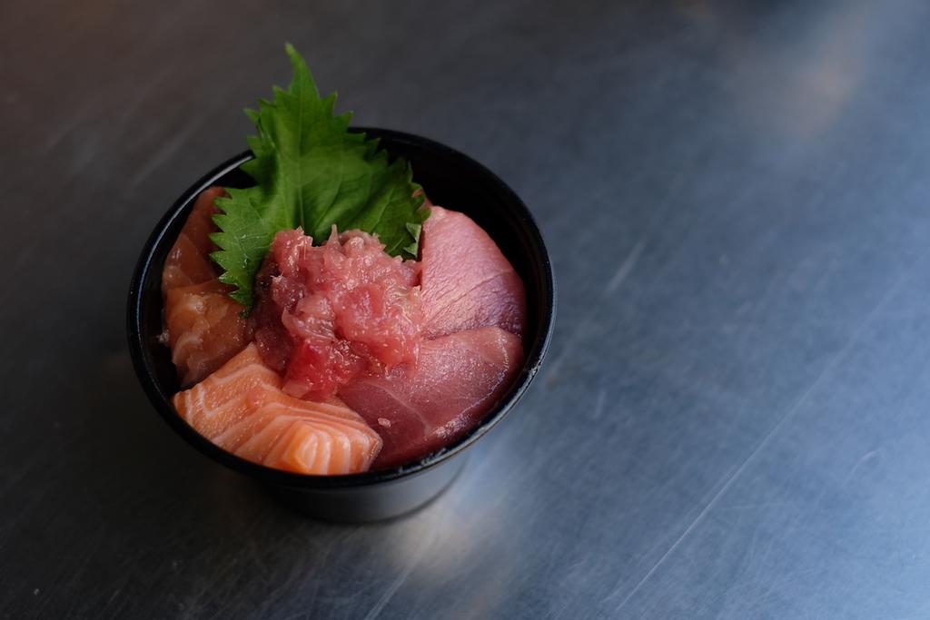 Salmon negitoro rice bowl from Maguroya Kurogin.