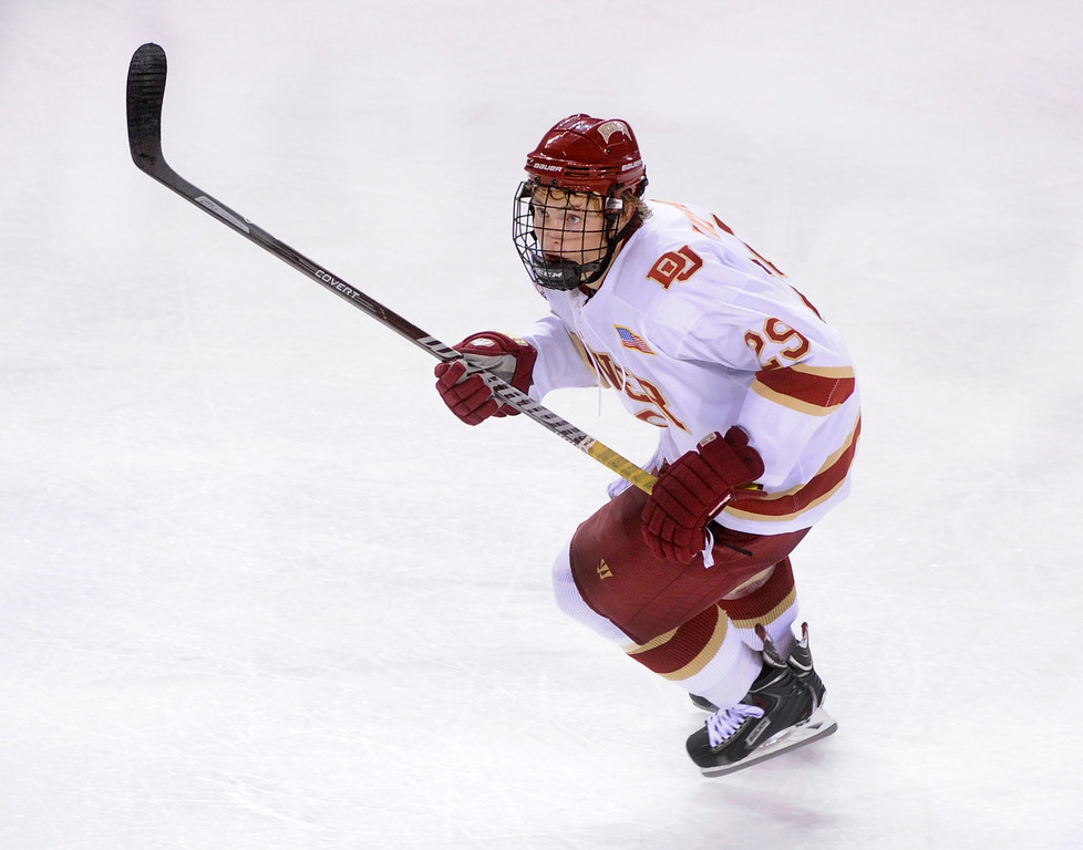. DENVER, CO. - OCTOBER 12: Denver wing Brad Hawkinson (29) skated in the third period. The University of Denver hockey team blanked Merrimack 4-0 at Magness Arena, Saturday night, October 12, 2013. Photo By Karl Gehring/The Denver Post