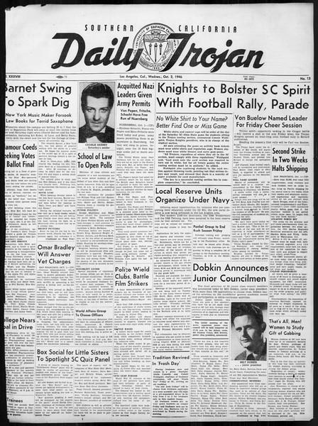 Daily Trojan, Vol. 38, No. 13, October 02, 1946