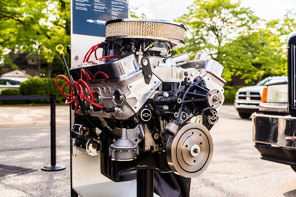 . Chevrolet set up some exhibits of their newer models where Woodward Avenue meets Old Woodward in Downtown Birmingham, including one of their new high-performance engines. Photo by Dylan Dulberg