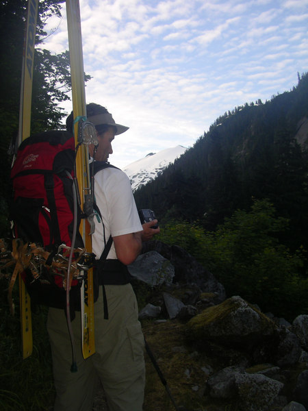 We can see our destination, the summit of Mt. Ruth, from the valley trail leading up to Hannegan Pass.