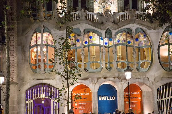 Barcelona in the night, Spain - July, 2016