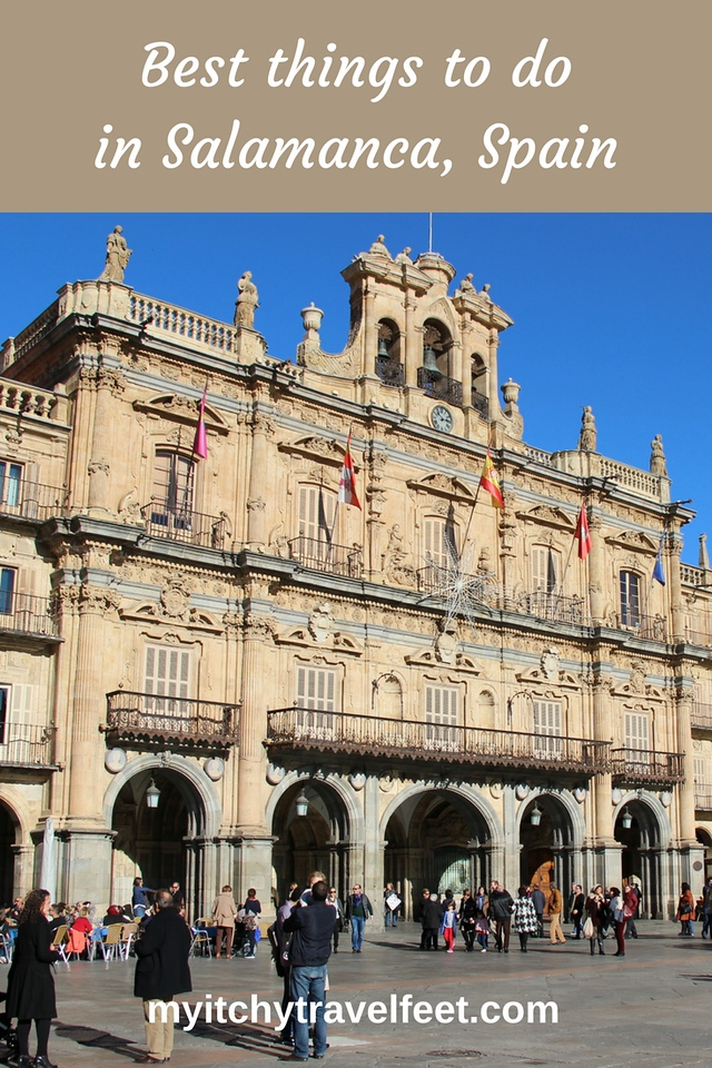 Best tings to do in Salamanca, Spain. Photo: tourists walking around Plaza Mayor in Salamanca.