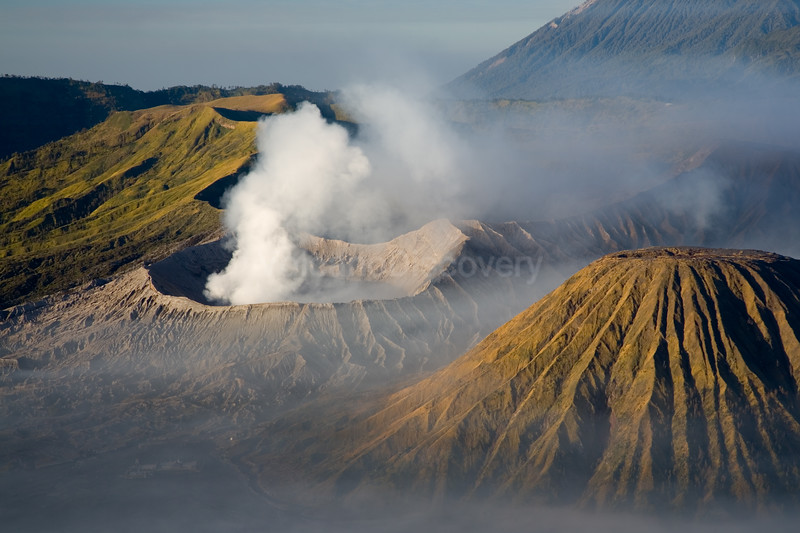 Mt Bromo volcano steaming