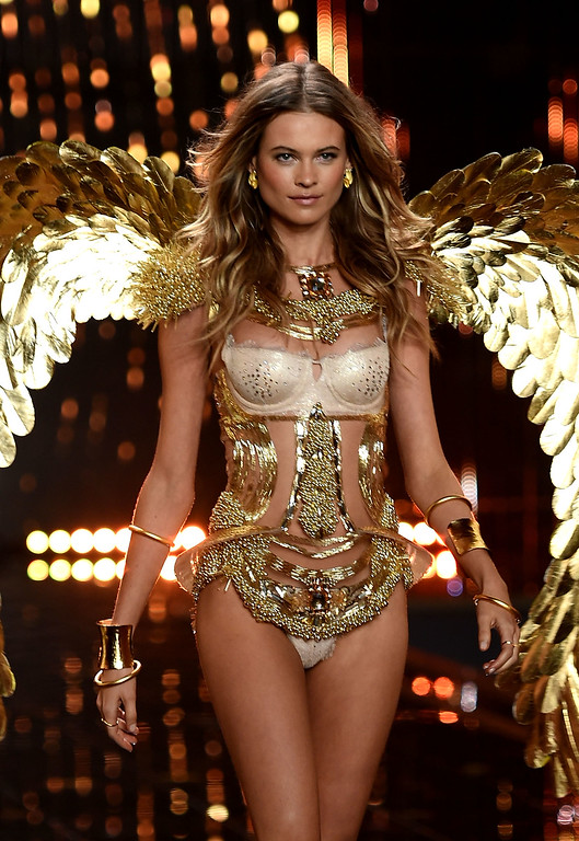 . Model Behati Prinsloo walks the runway during the 2014 Victoria\'s Secret Fashion Show at Earl\'s Court Exhibition Centre on December 2, 2014 in London, England.  (Photo by Dimitrios Kambouris/Getty Images for Victoria\'s Secret)