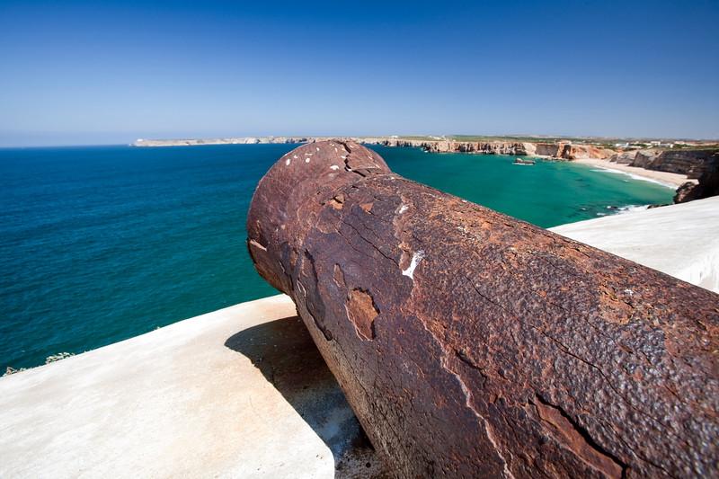Old cannon, fortress of Sagres, town of Sagres, municipality of Vila do Bispo, district of Faro, region of Algarve, southwestern Portugal