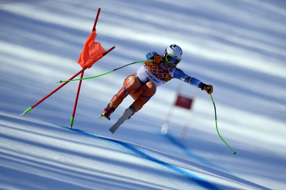 . Norway\'s Alexsander Aamodt Kilde competes during the Men\'s Alpine Skiing Super Combined Downhill at the Rosa Khutor Alpine Center during the Sochi Winter Olympics on February 14, 2014.  (OLIVIER MORIN/AFP/Getty Images)