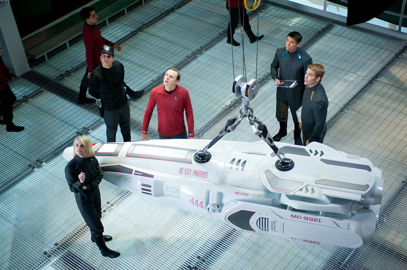 . (Clockwise from front) Alice Eve is Carol, Simon Pegg is Scotty, Karl Urban is Bones and Chris Pine is Kirk in STAR TREK INTO DARKNESS, from Paramount Pictures and Skydance Productions.   (Photo by  Jaimie Trueblood)