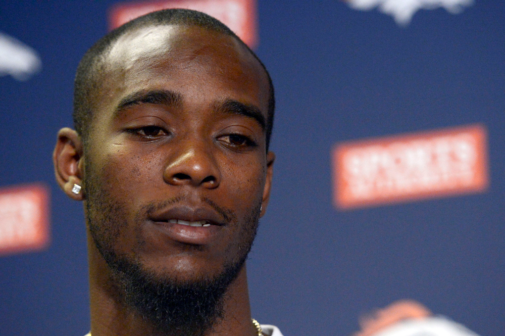 . The Denver Broncos Dominique Rodgers-Cromartie meets the media during a press conference at Dove Valley March 14, 2013. The Broncos on Wednesday evening agreed to terms with the unrestricted free-agent on a one-year contract, Executive Vice President of Football Operations John Elway announced. (Photo By John Leyba/The Denver Post)