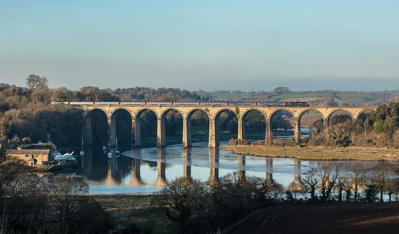 110118  FGW 125 heads across St Germans viaduct.(taken by the assistant)