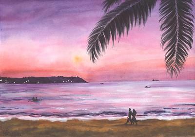 """""""Romantical sunset"""" (watercolor) by Julia Gavrilova"""
