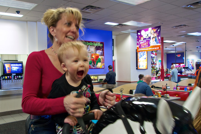 Birthday Party frenzy at Chuck E. Cheese's, Nana & Makenzie