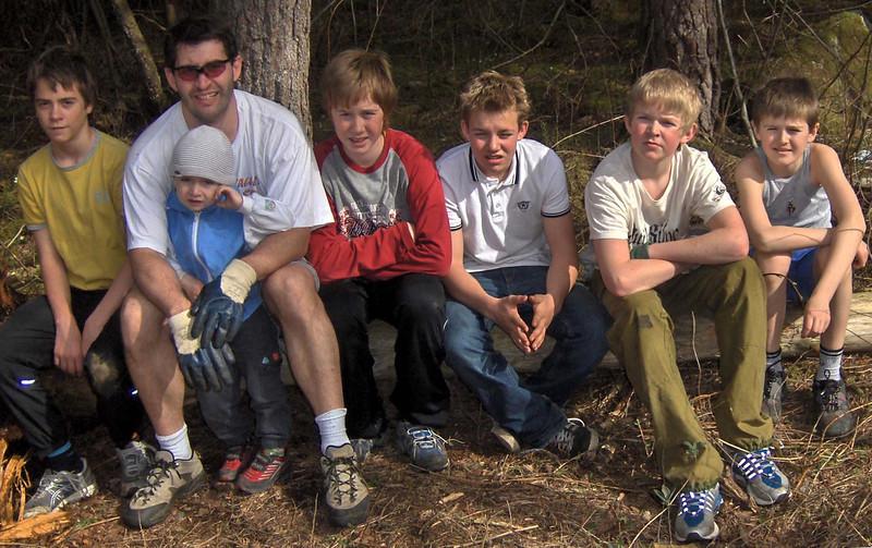 Jens Kolnes, juniortrener JeromePaturel med Luca, Trygve B. Aarrestad, Fredrik B. Møller, Snorre Leret