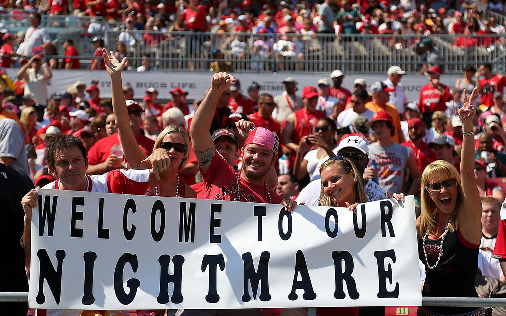 . Tampa Bay Buccaneers fans look on during a game against the Philadelphia Eagles at Raymond James Stadium on October 13, 2013 in Tampa, Florida.  (Photo by Mike Ehrmann/Getty Images)
