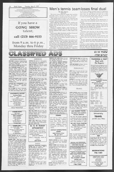 Daily Trojan, Vol. 71, No. 51, May 03, 1977