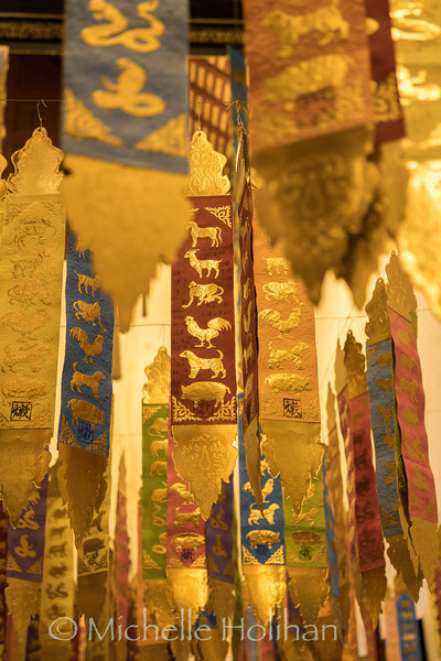 New Year's decorations hanging inside Wat Chedi Luang in Chiang Mai, Thailand