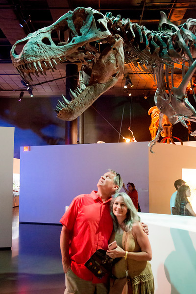 Peter and Sara narrowly avoic the teeth of another T-Rex.