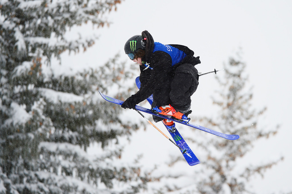 . ASPEN, CO - JANUARY 31: James Woods goes for a grab on his third run during Men\'s Ski Slopestyle at Winter X Games 2016 at Buttermilk Mountain on January 31, 2016 in Aspen, Colorado. Jossi Wells won the event with a score of 90 coming after his last run. (Photo by Brent Lewis/The Denver Post)