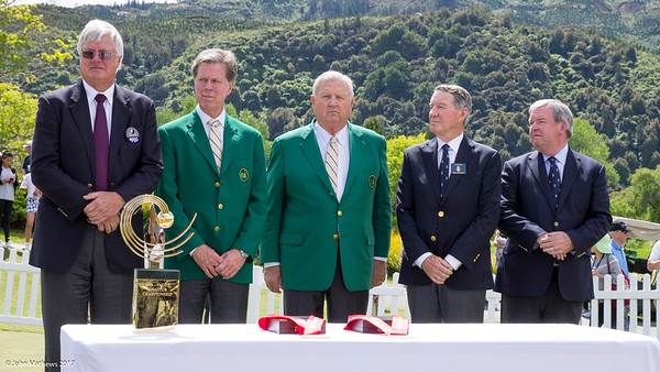 Members of the Asia-Pacific Golf Confederation (APGC), the Masters and Royal and Ancient Golf Club (R&A) prepare to present the trophy to Yuxin Lin from China at the completion of the Asia-Pacific Amateur Championship tournament 2017 held at Royal Wellington Golf Club, in Heretaunga, Upper Hutt, New Zealand from 26 - 29 October 2017. Copyright John Mathews 2017.   www.megasportmedia.co.nz