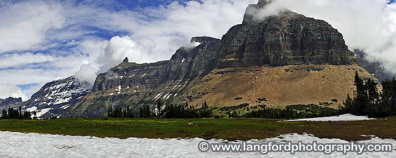 Panorama shot taken near the beginning of the trail up to Hidden Lake.