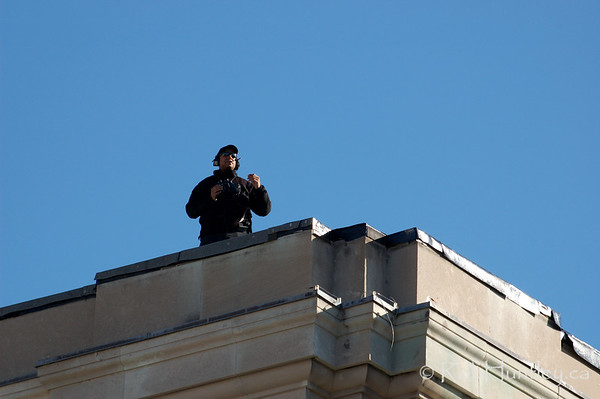 Rooftop security. 2009 Remembrance Day Ceremony in Ottawa, Ontario.  © Rob Huntley