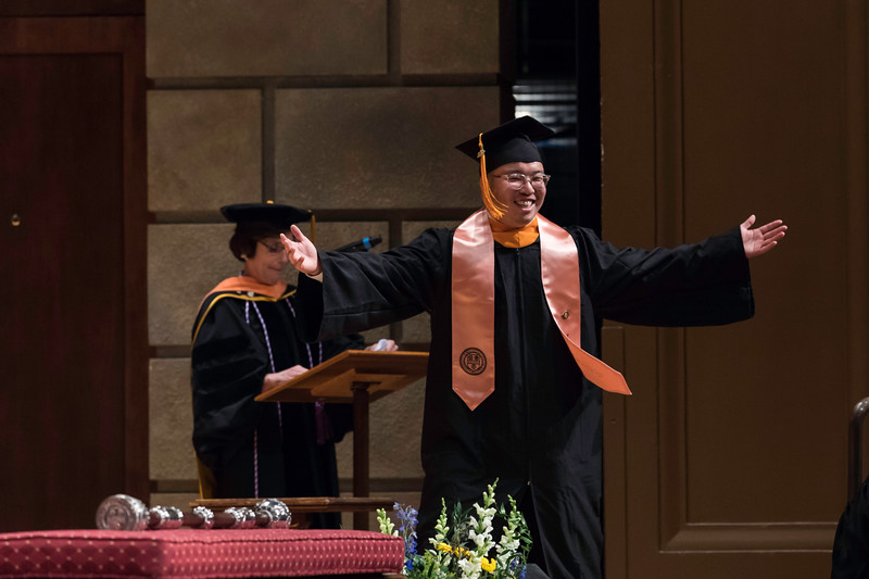 Timothy Tu received the Dorothea Lynde Dix Prize. // University of Rochester School of Nursing Commencement, Kodak Hall at Eastman Theatre May 17, 2019.  // photo by J. Adam Fenster / University of Rochester