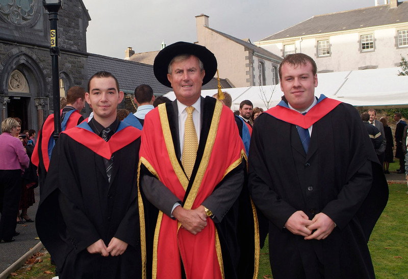 Ian Power, Tramore and Ian Parle, Wexford who were both conferred with a Higher Certificate in Engineering in Civil Engineeering pictured with Redmond O'Donoghue, Chairman of WIT at the conferring of academic awards.