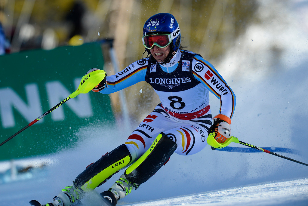 . BEAVER CREEK, CO - FEBRUARY 9: Veronique Hronek, of Germany, competes in the Women\'s slalom portion of the women\'s alpine combined race at the FIS Alpine World Ski Championships in Beaver Creek, CO. February 9, 2015. (Photo By Helen H. Richardson/The Denver Post)