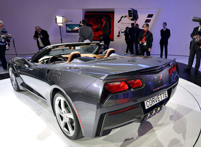 . The new Chevrolet Corvette Stingray is shown during the press day at the 83rd Geneva International Motor Show in Geneva, Switzerland, Tuesday, March 5, 2013. The Motor Show will open its gates to the public from 7th to 17th March presenting more than 260 exhibitors and more than 130 world and European premieres. (AP Photo/Keystone, Martial Trezzini)