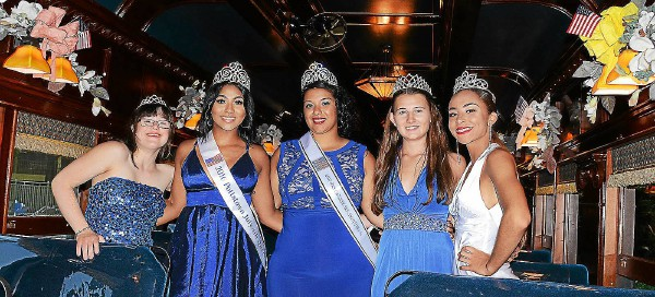 . Angelina Olvera, center, representing Pottstown High School, was crowned the 2017 Independence Day LTD Queen during a ceremony on the Colbrookdale Railroad. From l-r, Homecoming queens from other area high schools are Mary Grace Fedoris of Owen J. Roberts; 2016 Queen MarDaije Pearson of Pottstown; Olvera; Natalie Wynne of Boyertown and Jazlynn Carter of Pottsgrove. --Tom Kelly, Digital First Media