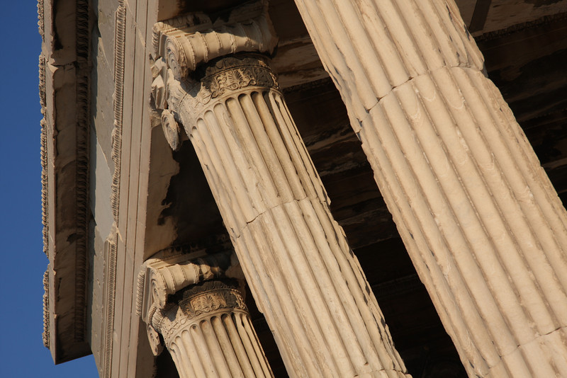 Pillars of the Ionic Order. The Erictheum on the Acropolis of Athens, Greece.