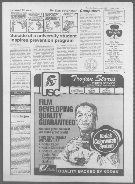 Daily Trojan, Vol. 105, No. 16, September 24, 1987
