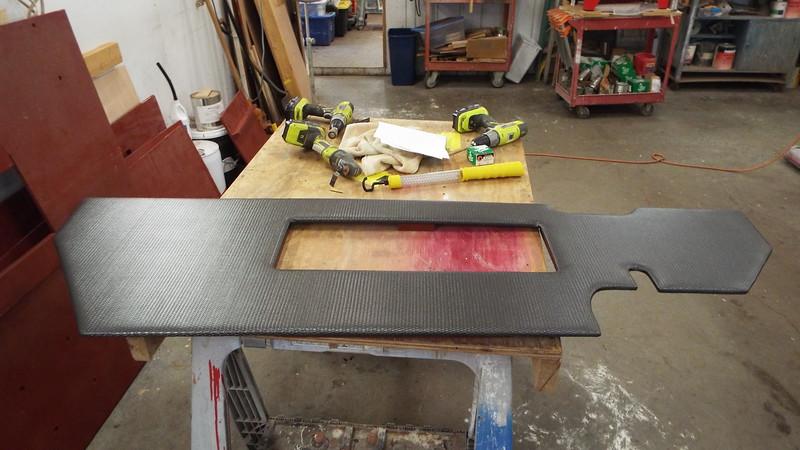 New upholstered storage bulk head ready for the locker door.