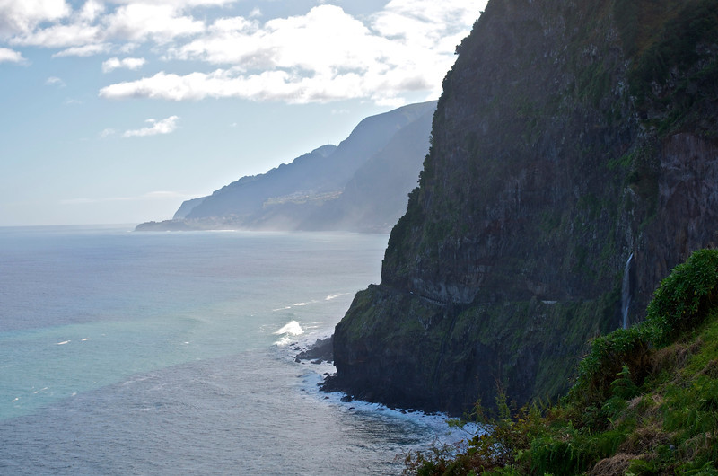 Towards São Vicente; the old cliff road, collapsed and running with water.
