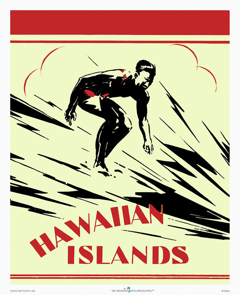 106: 'Hawaiian Islands' Vintage surfer image cover for a Hawaii Tourist Bureau brochure with art by H.B. Christian, possibly derived from a vintage Hawaiian postcard or photograph we found published in 'Hula Girls & Surfer Boys' on page 90. Vintage Hawaiian Brochure Cover, ca 1920.