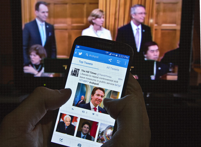 Television and twitter outside the House of Commns, wednesday February 3, 2016. photo by Fred Chartrand.
