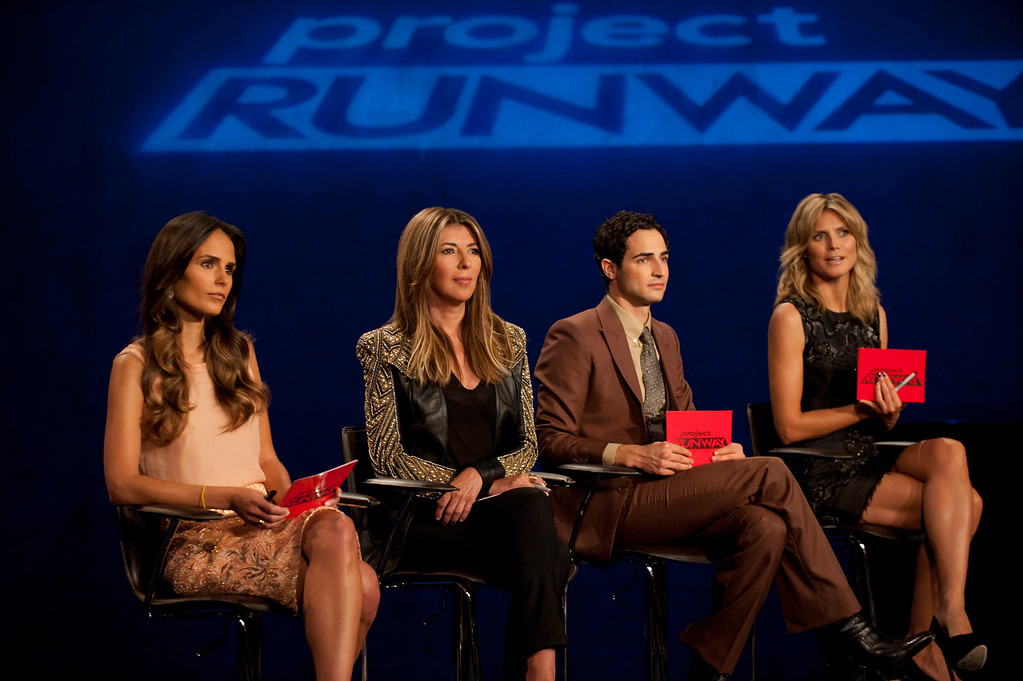 . Project Runway (L to R) Guest judge Jordana Brewster, Nina Garcia, Zac Posen and Heidi Klum judge Project Runway season 11, premiering Thursday, January 24, at 9pm ET/PT on Lifetime. Photo by Barbara Nitke Copyright 2012
