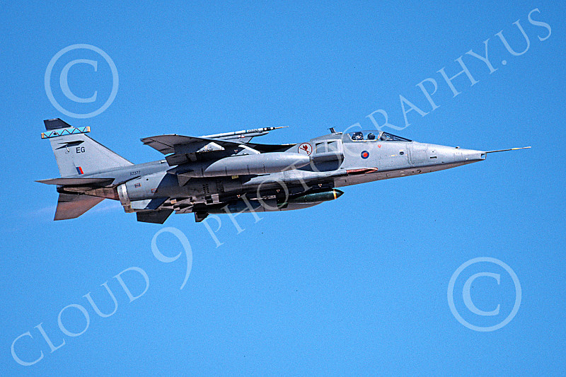 SEPECAT Jaguar 00040 A flying SEPECAT Jaguar attack jet British RAF XZ377 with bombs 8-1999 military airplane picture by Michael Grove, Sr.JPG