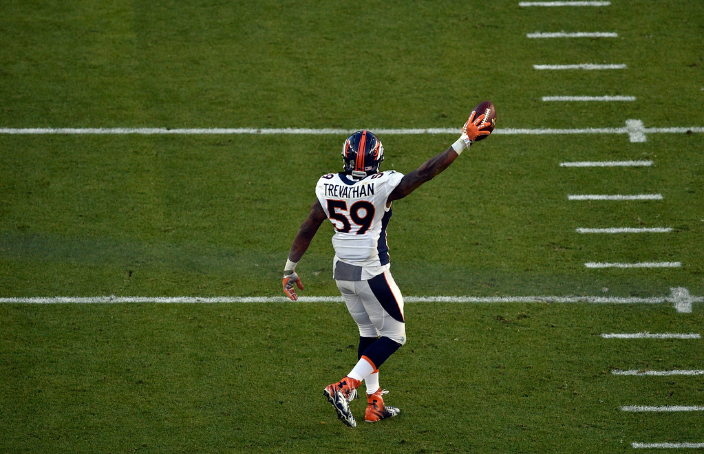 . SANTA CLARA, CA - FEBRUARY 7: Danny Trevathan (59) of the Denver Broncos celebrates after a fumble recovery in the second quarter.  The Denver Broncos played the Carolina Panthers in Super Bowl 50 at Levi\'s Stadium in Santa Clara, Calif. on February 7, 2016. (Photo by Helen H. Richardson/The Denver Post)