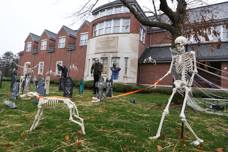 Halloween display at Tewksbury Police headquarters. (SUN/Julia Malakie)