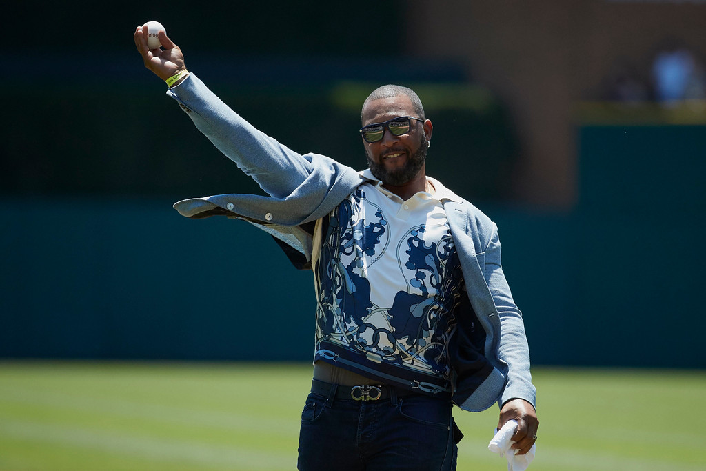 . Former Detroit Tigers player Gary Sheffield throws out a ceremonial first prior to a baseball game between the Tigers and the Cleveland Indians in Detroit, Sunday, July 2, 2017. (AP Photo/Rick Osentoski)