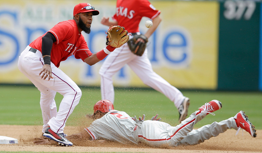 . Philadelphia Phillies\' Ben Revere steals second as Texas Rangers shortstop Elvis Andrus catches the ball during the fourth inning of an opening day baseball game at Globe Life Park, Monday, March 31, 2014, in Arlington, Texas.  (AP Photo/Tony Gutierrez)