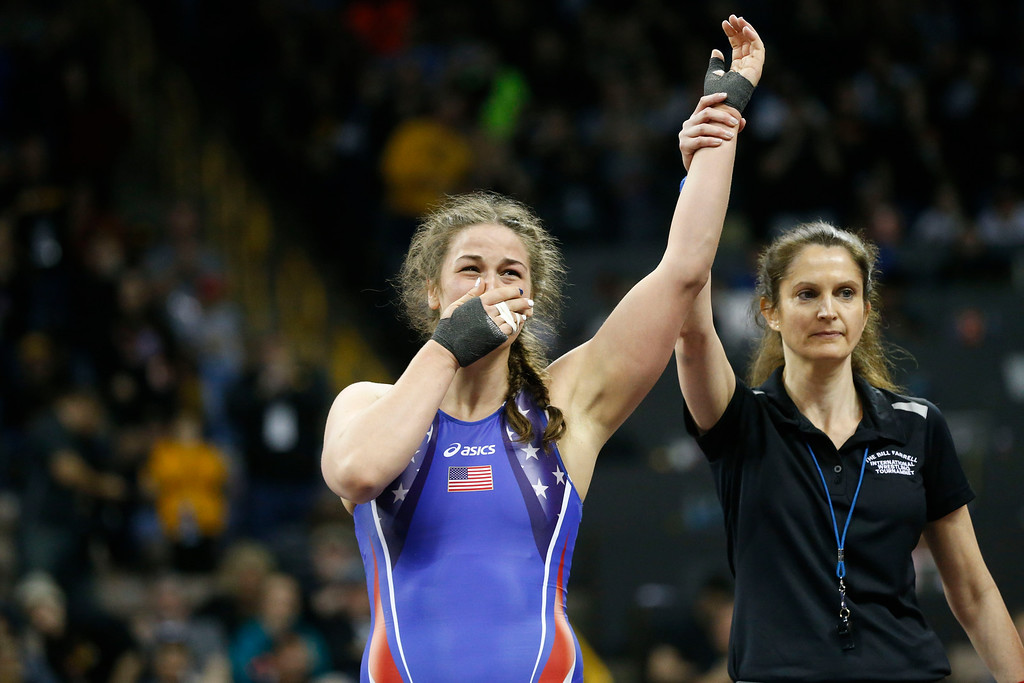 . Denver\'s Adeline Gray reacts after winning by decision against Victoria Francis in their second bout in the championship round at the 2016 U.S. Olympic Trials at Carver-Hawkeye Arena in Iowa City, Iowa on Sunday, April 10, 2016. The three-time world champion hopes to become the first American woman to win an Olympic gold medal in Rio this summer. Gray won the bout by decision 10-0, earning a spot on the United States Olympic Team. (Rebecca F. Miller for The Denver Post)