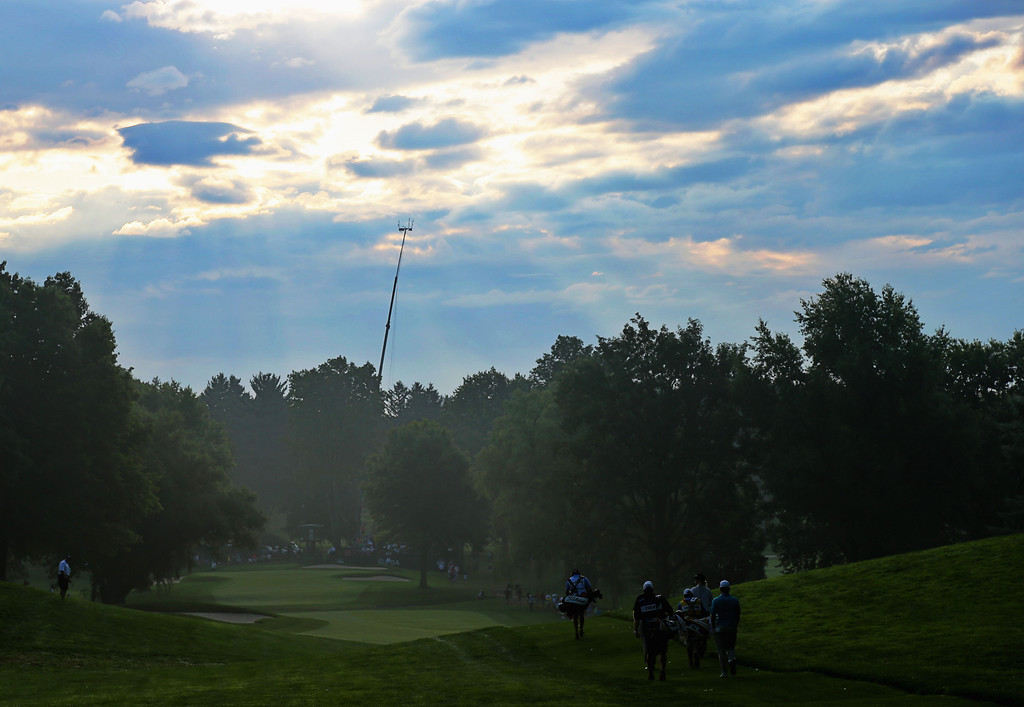 . ROCHESTER, NY - AUGUST 08:  Charley Hoffman of the United States, Bob Sowards of the United States and Matt Every of the United States walk off the tenth tee during the first round of the 95th PGA Championship on August 8, 2013 in Rochester, New York.  (Photo by Rob Carr/Getty Images)